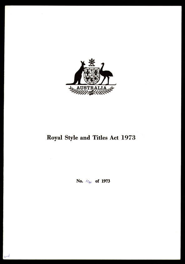 Royal Style and Titles Act 1973 (Cth), cover
