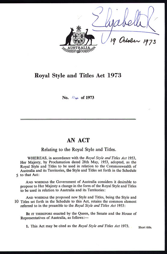Royal Style and Titles Act 1973 (Cth), p1