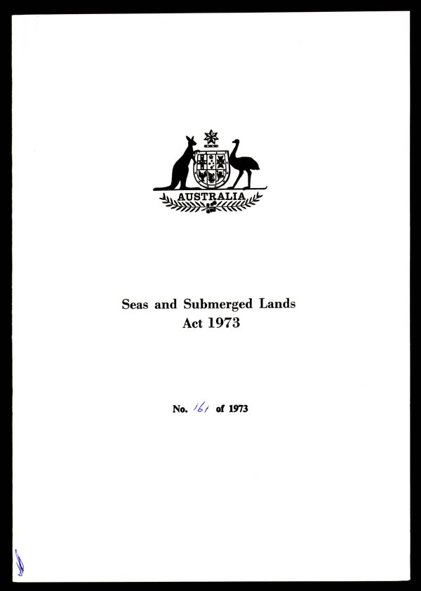 Seas and Submerged Lands Act 1973 (Cth), cover