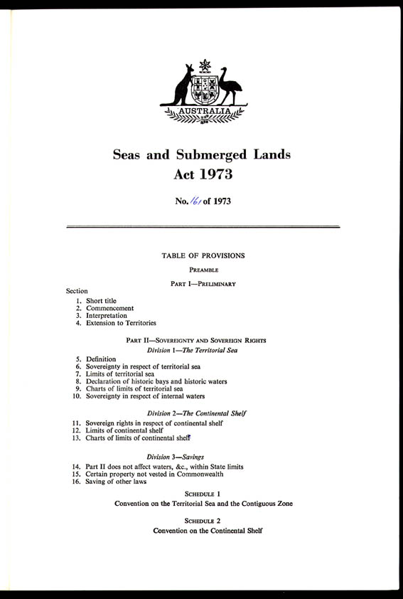 Seas and Submerged Lands Act 1973 (Cth), provisions