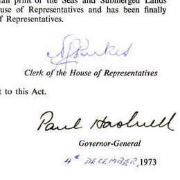 Governor-General Paul Hasluck signed his assent to this Act on behalf of Queen Elizabeth II.