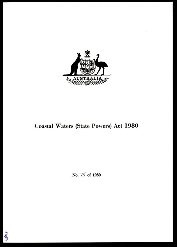 Coastal Waters (State Powers) Act 1980 (Cth), cover