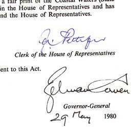 Detail showing signatures of Zelman Cowen and the Clerk of the House of Representatives.