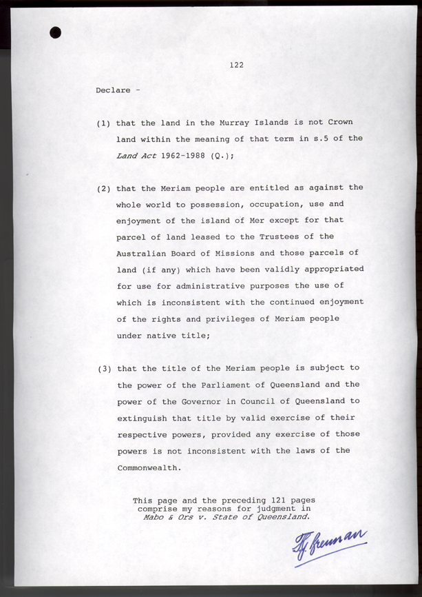 Mabo v Queensland No. 2 1992 (Cth), p122
