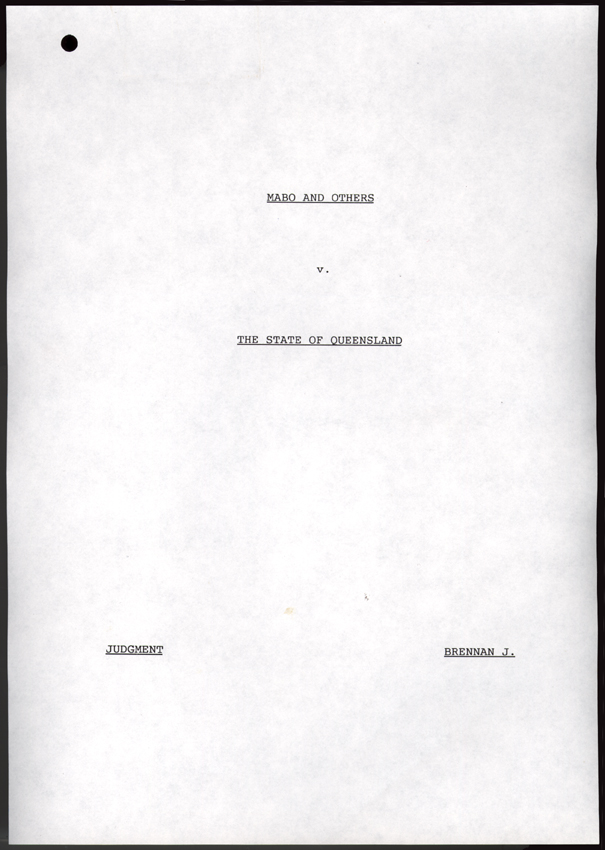 Mabo v Queensland No. 2 1992 (Cth), title