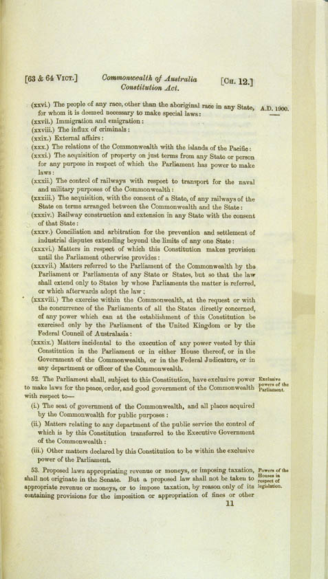 Commonwealth of Australia Constitution Act 1900 (UK), p11
