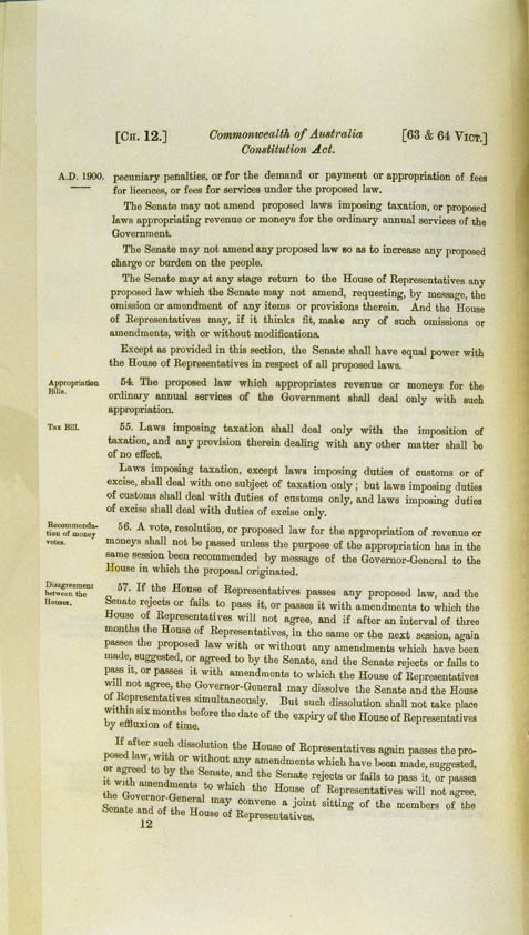 Commonwealth of Australia Constitution Act 1900 (UK), p12