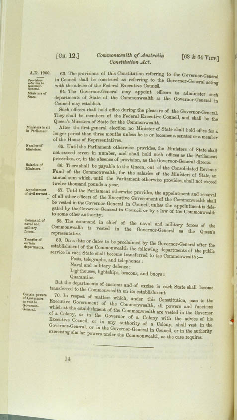 Commonwealth of Australia Constitution Act 1900 (UK), p14