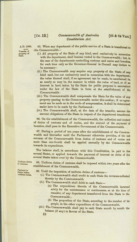 Commonwealth of Australia Constitution Act 1900 (UK), p18