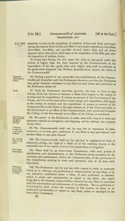 Commonwealth of Australia Constitution Act 1900 (UK), p20