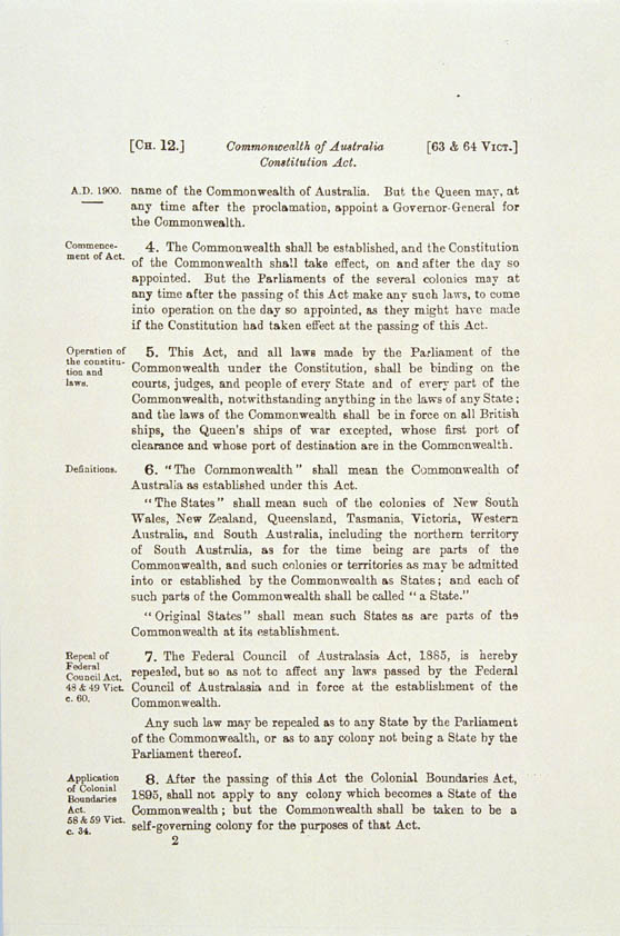 Commonwealth of Australia Constitution Act 1900 (UK), p2