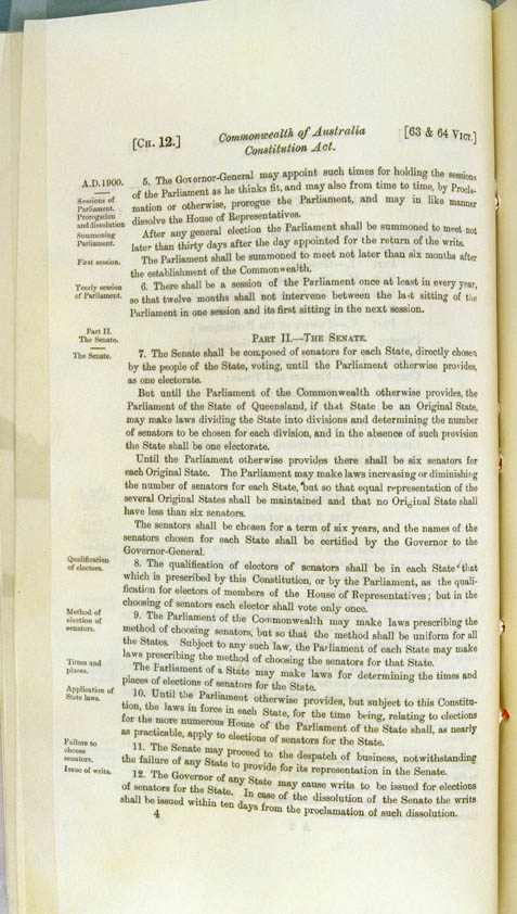 Commonwealth of Australia Constitution Act 1900 (UK), p4