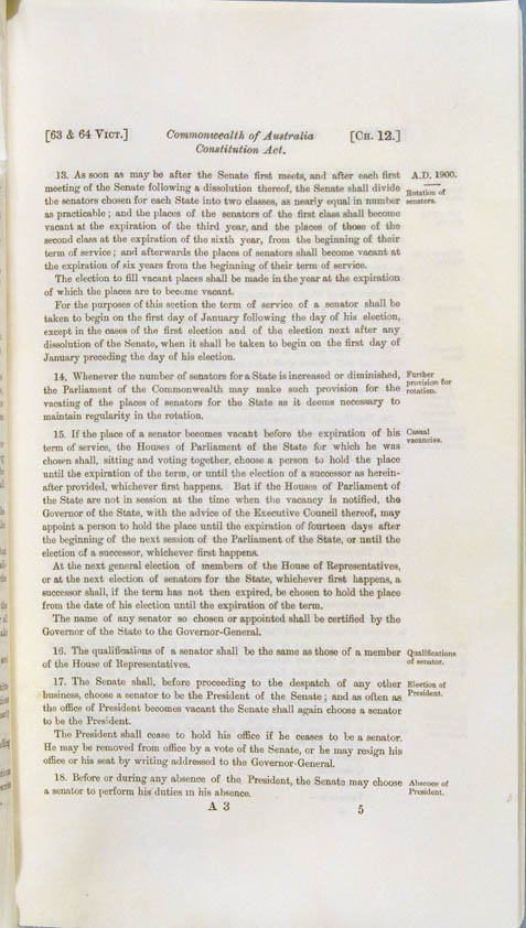 Commonwealth of Australia Constitution Act 1900 (UK), p5