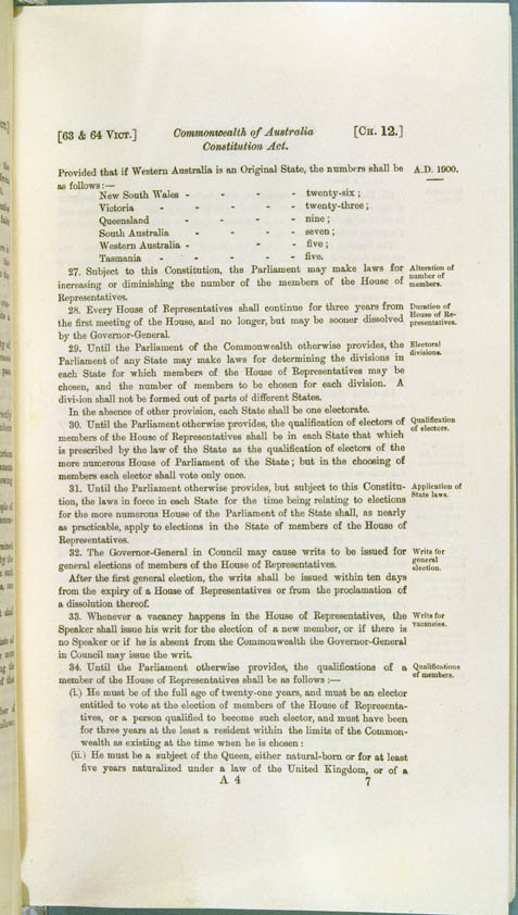Commonwealth of Australia Constitution Act 1900 (UK), p7
