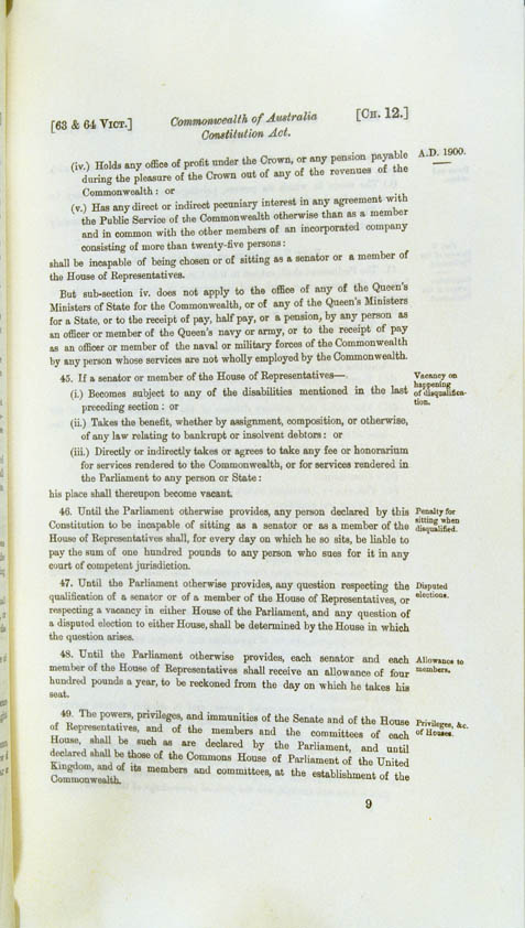 Commonwealth of Australia Constitution Act 1900 (UK), p9