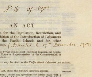 Detail of the front cover of the Pacific Island Labourers Act 1901 (Cth).