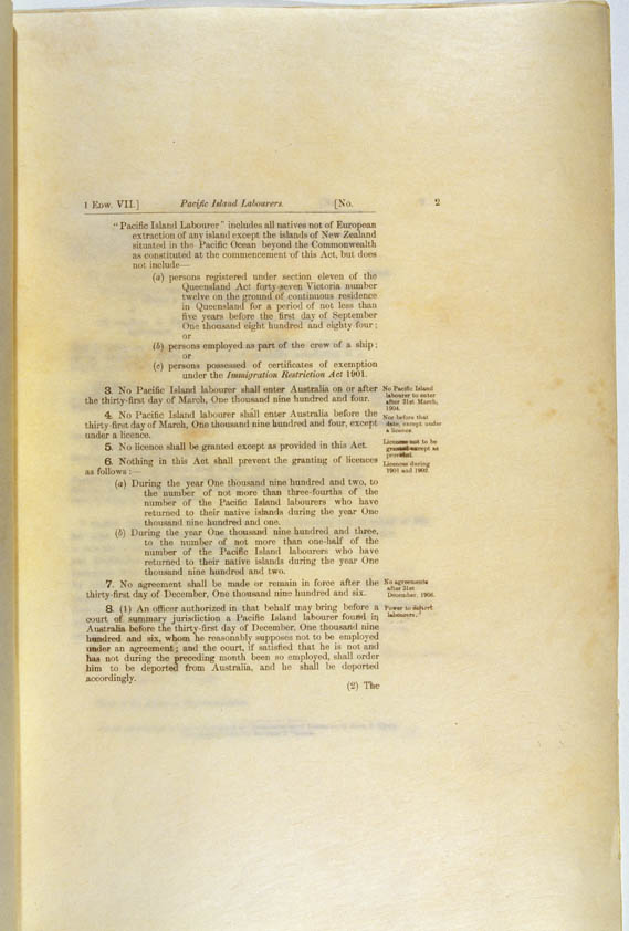Pacific Island Labourers Act 1901 (Cth), p2