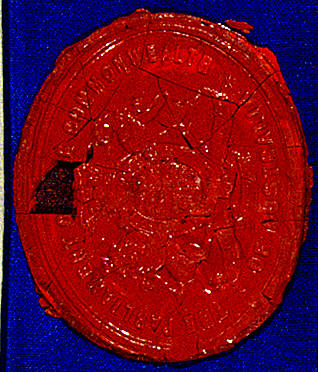 The wax seal used on the Immigration Restriction Act of 1901 (Cth).