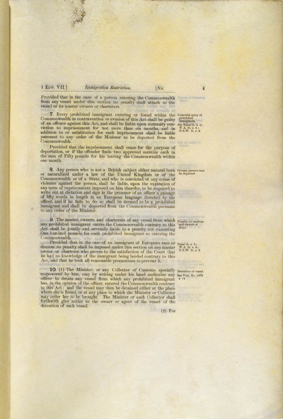 Immigration Restriction Act 1901 (Cth), p4