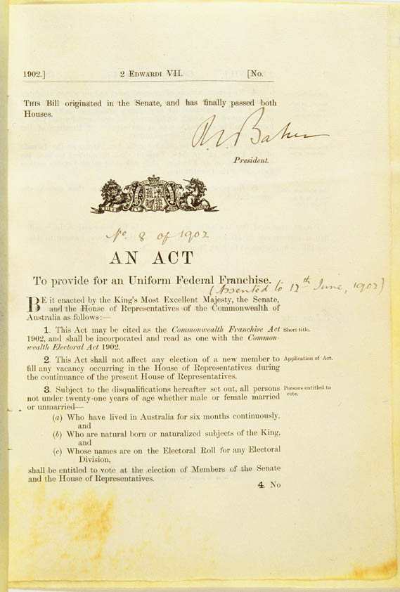 Commonwealth Franchise Act 1902 (Cth), p1