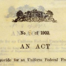 Detail from the cover of the Commonwealth Franchise Act 1902 (Cth).