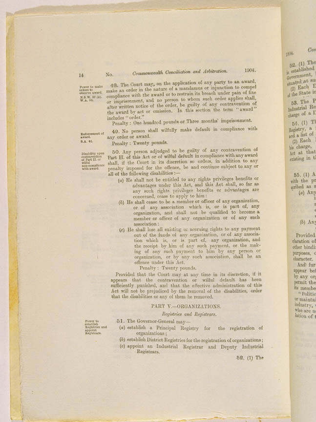 Conciliation and Arbitration Act 1904 (Cth), p14
