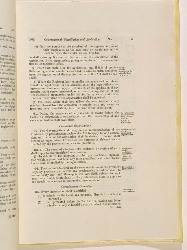 Conciliation and Arbitration Act 1904 (Cth), p17