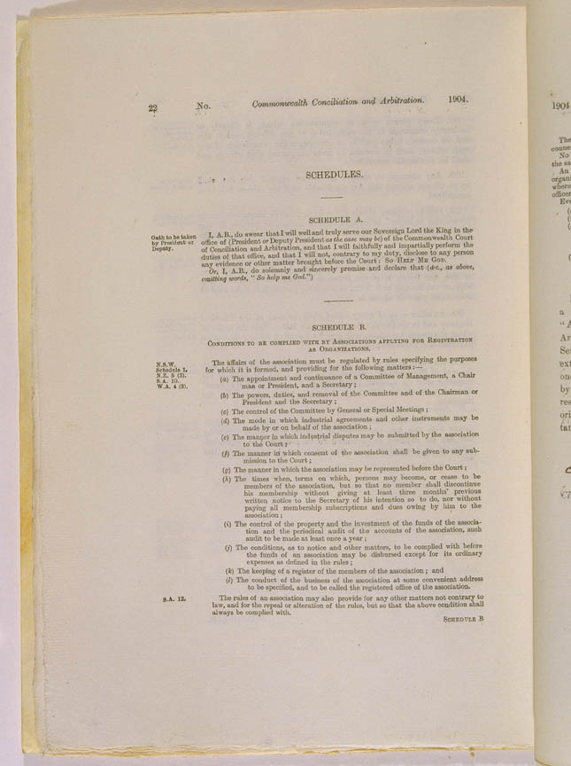 Conciliation and Arbitration Act 1904 (Cth), p22