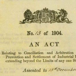 Detail from the cover of the Conciliation and Arbitration Act 1904 (Cth).