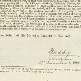 Detail from page 6 with the signature of Lord Dudley, assenting to the Act.