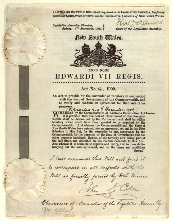 Seat of Government Surrender Act 1909 (NSW), p1