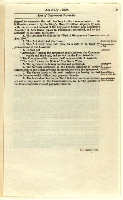 Seat of Government Surrender Act 1909 (NSW), p2