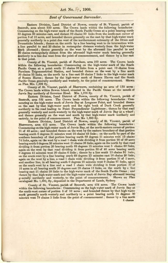Seat of Government Surrender Act 1909 (NSW), p4