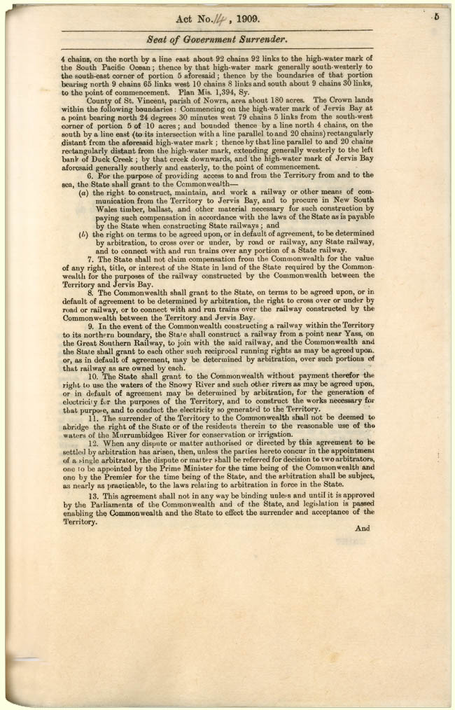Seat of Government Surrender Act 1909 (NSW), p5