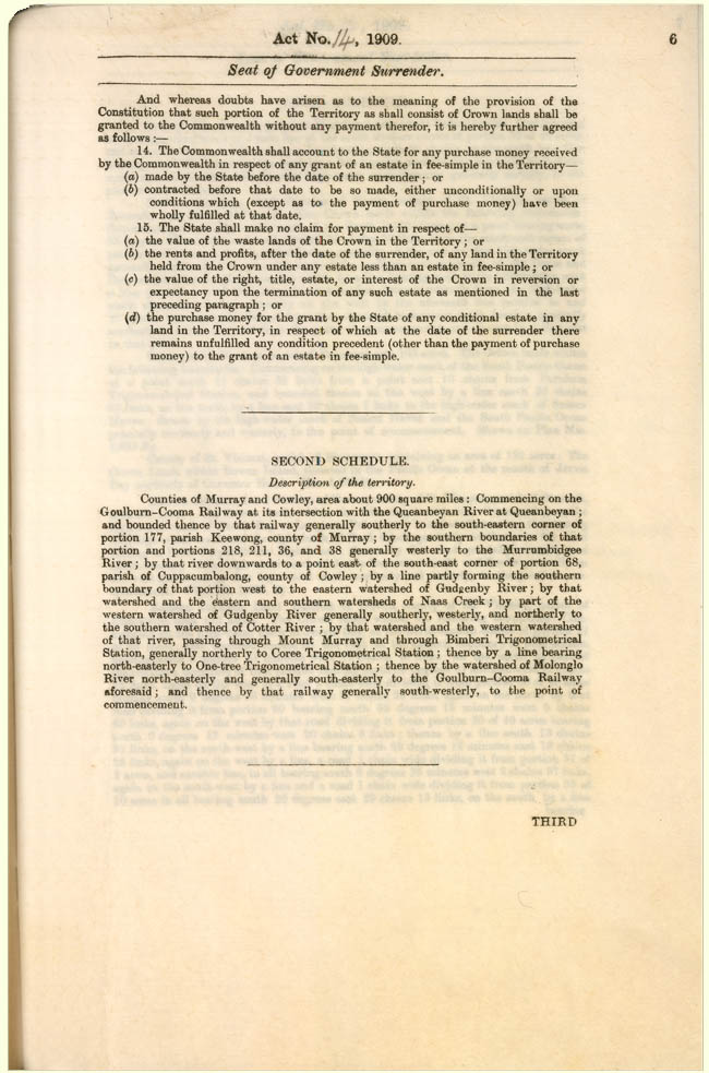 Seat of Government Surrender Act 1909 (NSW), p6