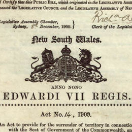 Detail from the title page of the Seat of Government Surrender Act 1909 (NSW).