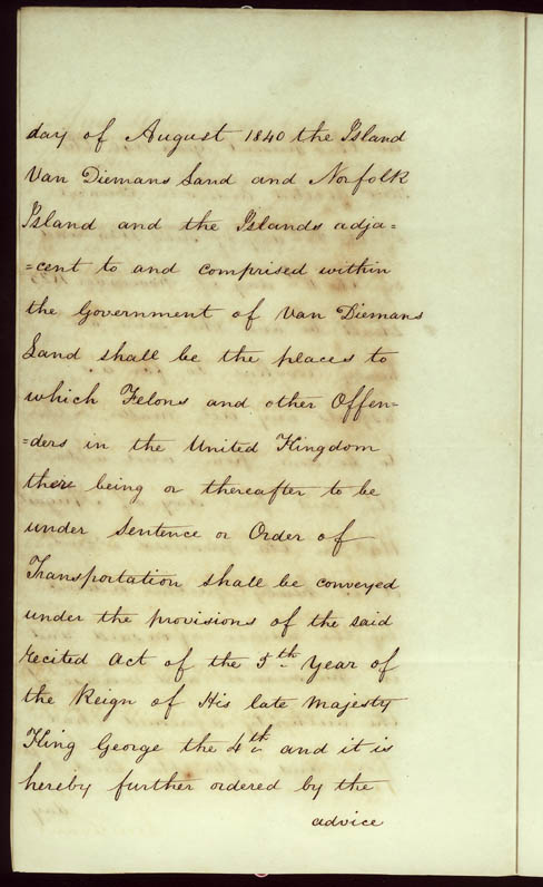 Order-in-Council ending transportation of convicts 22 May 1840 (UK), p12