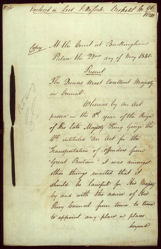 Order-in-Council ending transportation of convicts 22 May 1840 (UK), p1