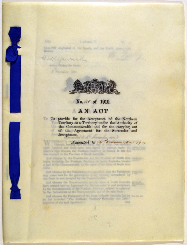 Northern Territory Acceptance Act 1910 (Cth), cover