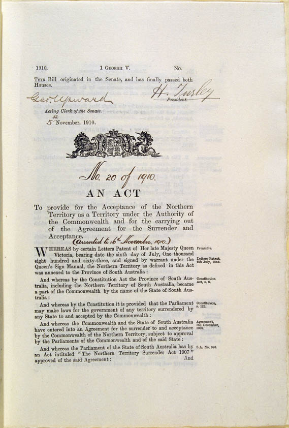 Northern Territory Acceptance Act 1910 (Cth), p1