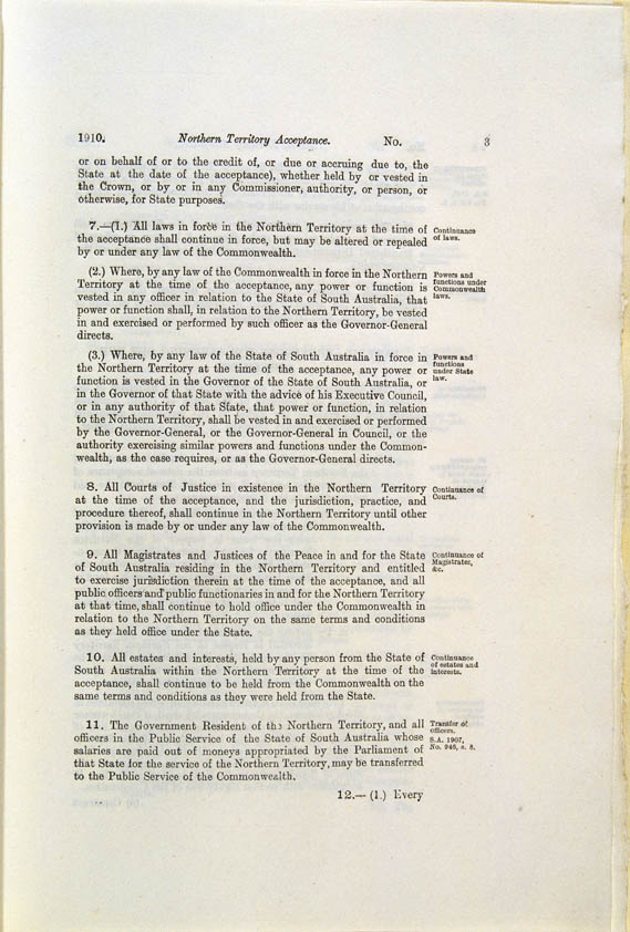 Northern Territory Acceptance Act 1910 (Cth), p3