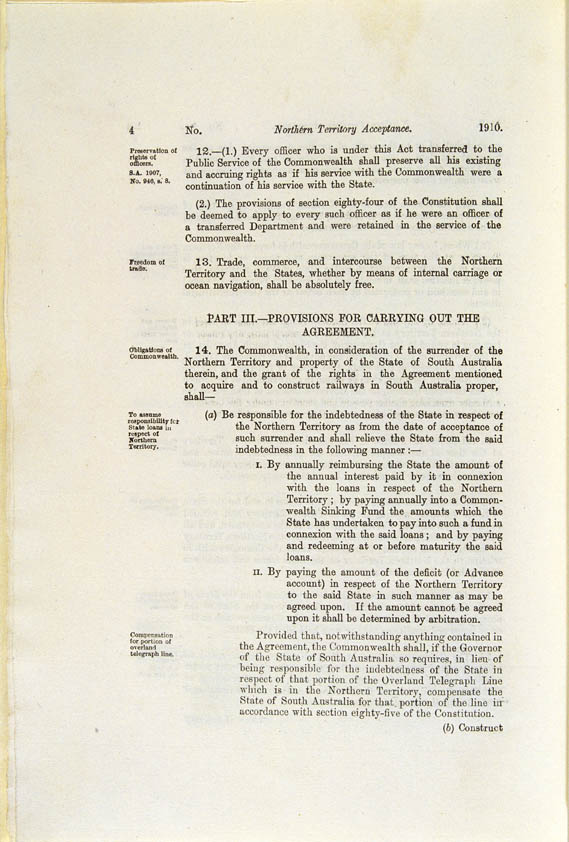 Northern Territory Acceptance Act 1910 (Cth), p4