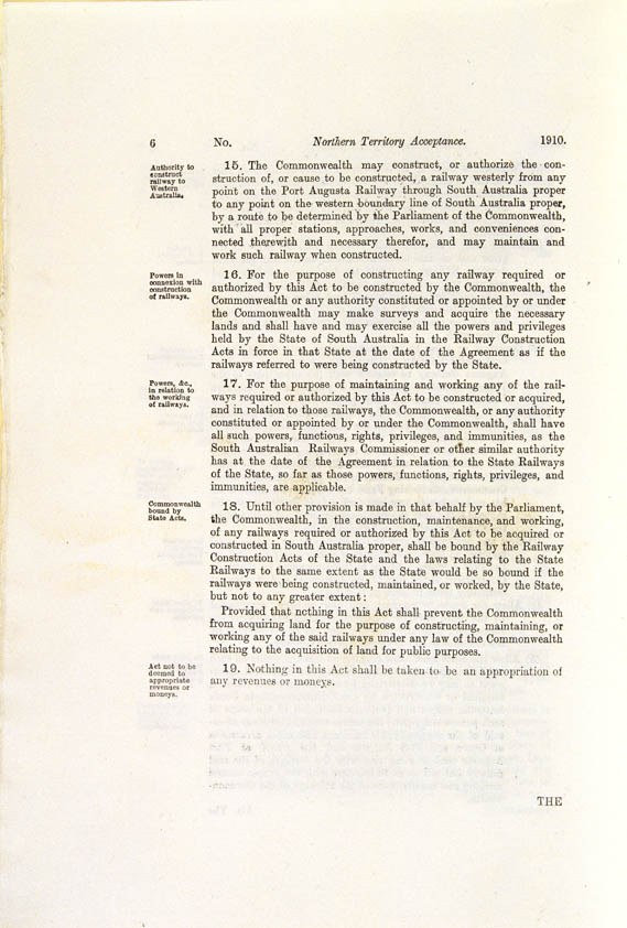 Northern Territory Acceptance Act 1910 (Cth), p6