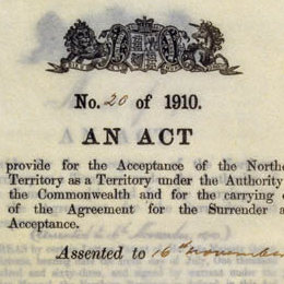 Detail from the cover of the Northern Territory Acceptance Act 1910 (Cth).