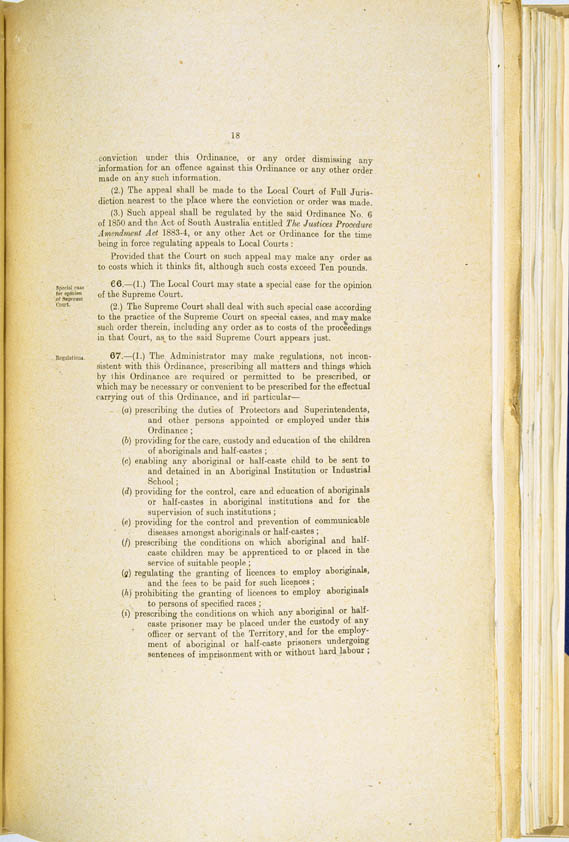 Aboriginals Ordinance No. 9 of 1918 (Cth), p18