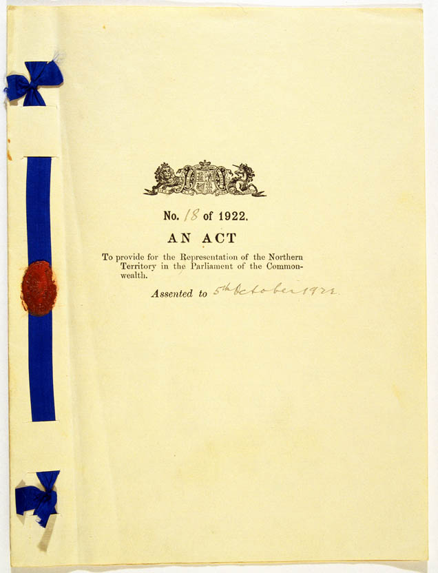 Northern Territory Representation Act 1922 (Cth), cover