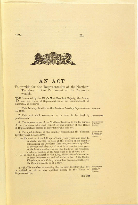 Northern Territory Representation Act 1922 (Cth), p1