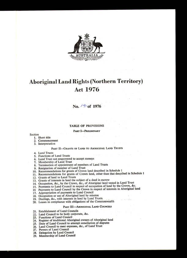 Aboriginal Land Rights (Northern Territory) Act 1976 (Cth), contents1