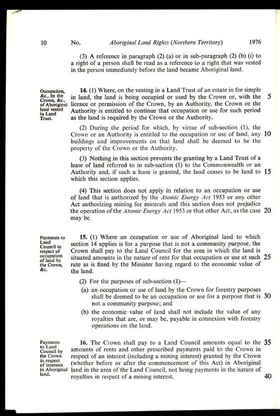 Aboriginal Land Rights (Northern Territory) Act 1976 (Cth), p10