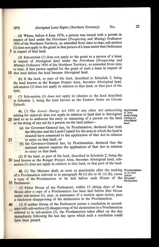 Aboriginal Land Rights (Northern Territory) Act 1976 (Cth), p23